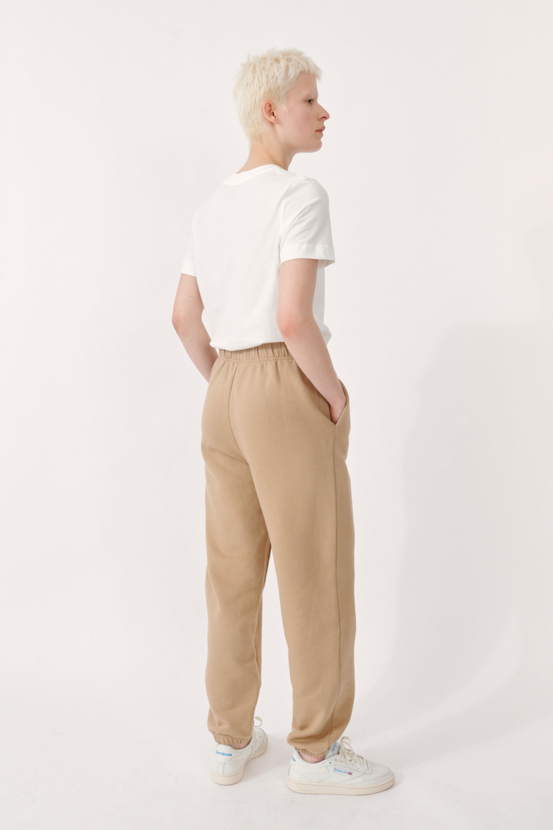 Jeantelle Trousers Camel These thick, loose sweatpants feature a fleecy interior, pockets, printed logo at the side, and drawstring inside - detail image