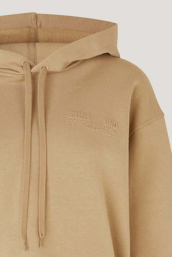 Jeroma Bp Sweater Camel A thick hooded sweatshirt with a loose fit, cropped silhouette, and logo embossed at the chest - detail image