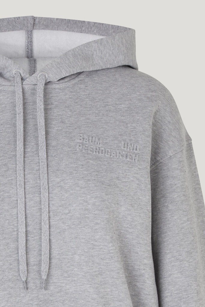 Jeroma Bp Sweater Grey Melange A thick hooded sweatshirt with a loose fit, cropped silhouette, and logo embossed at the chest - detail image